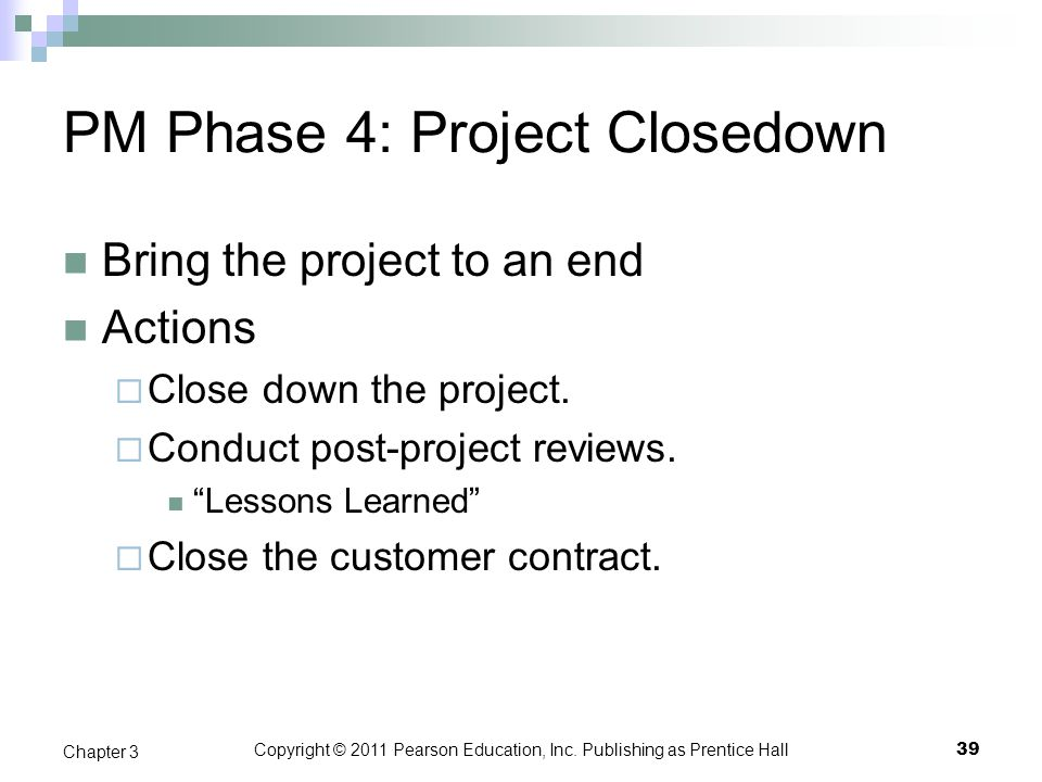 PM Phase 4: Project Closedown