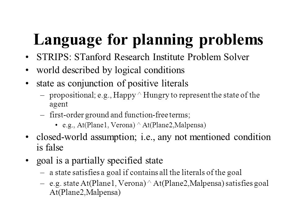 Language for planning problems