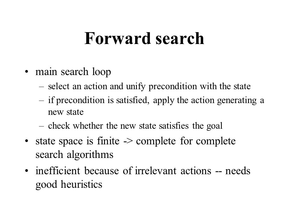 Forward search main search loop