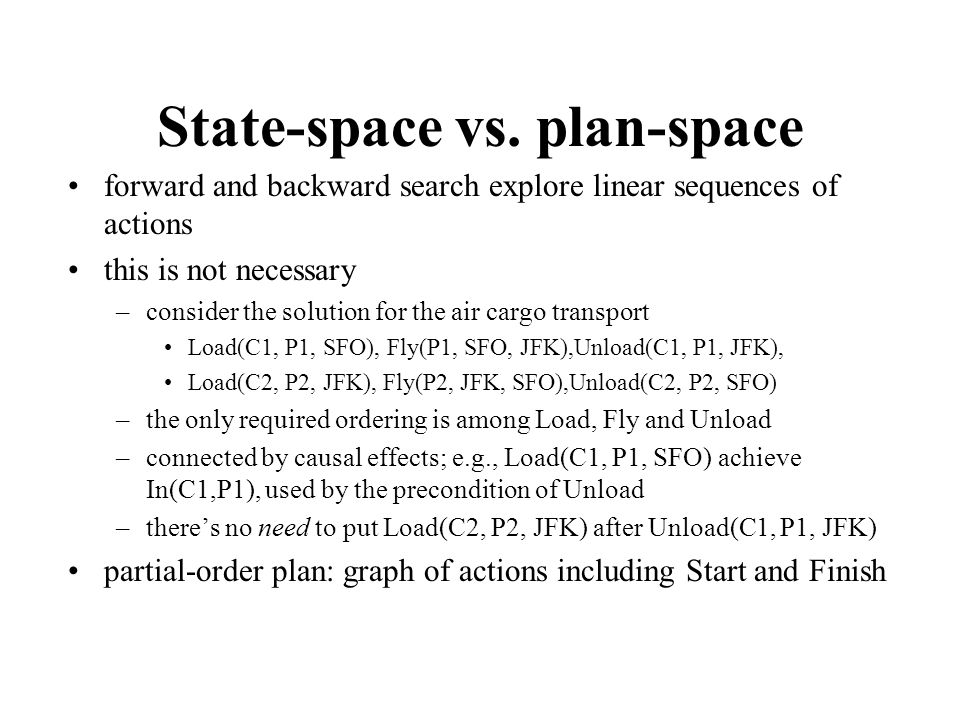 State-space vs. plan-space