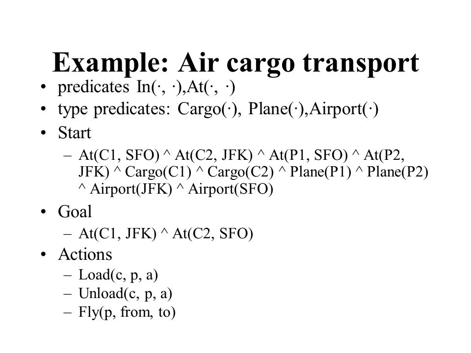 Example: Air cargo transport