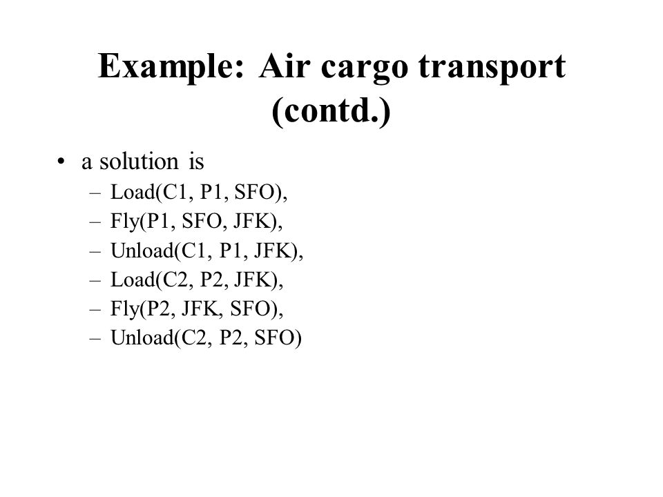 Example: Air cargo transport (contd.)