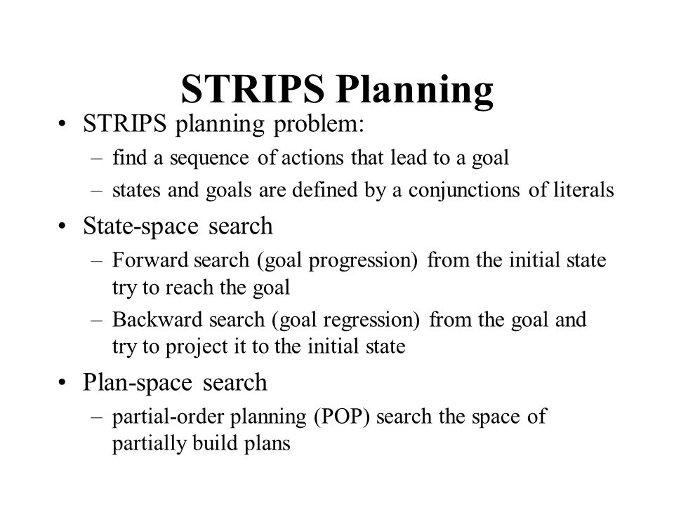 STRIPS Planning STRIPS planning problem: State-space search