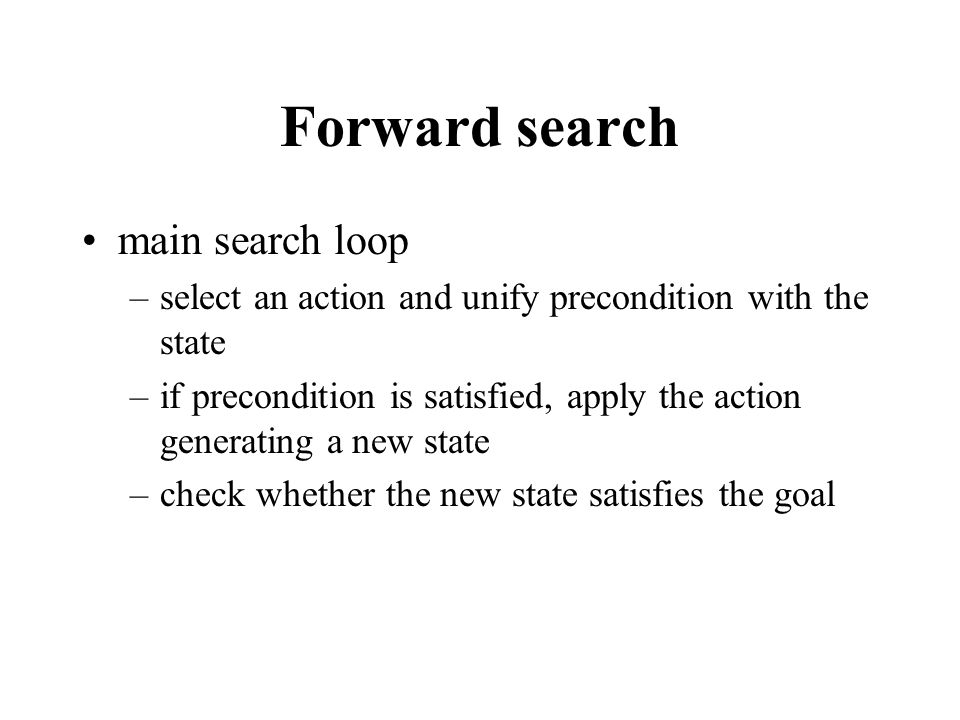 Forward search main search loop