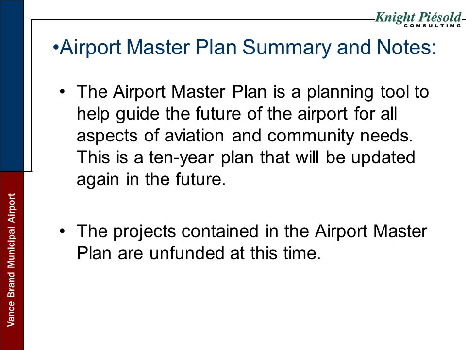 Airport Master Plan Summary and Notes:
