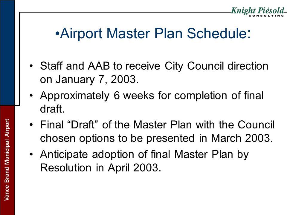 Airport Master Plan Schedule: