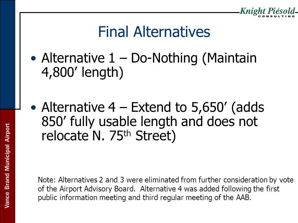 Final Alternatives Alternative 1 – Do-Nothing (Maintain 4,800' length)