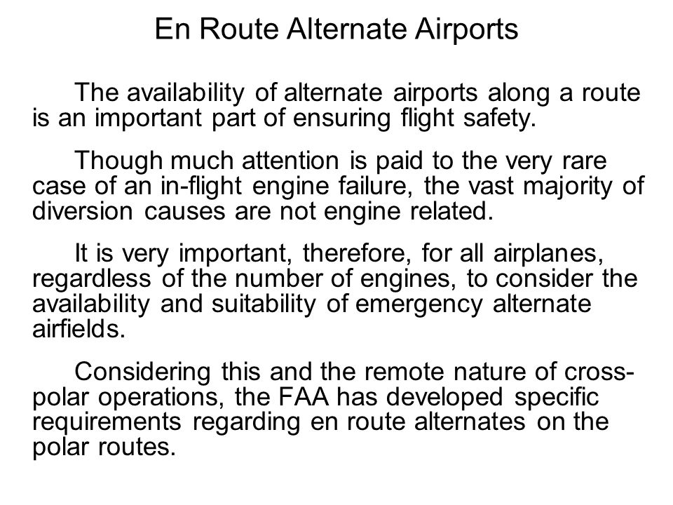 En Route Alternate Airports