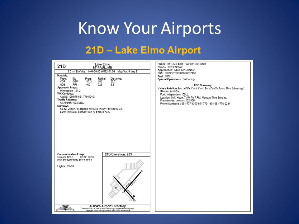Know Your Airports 21D – Lake Elmo Airport