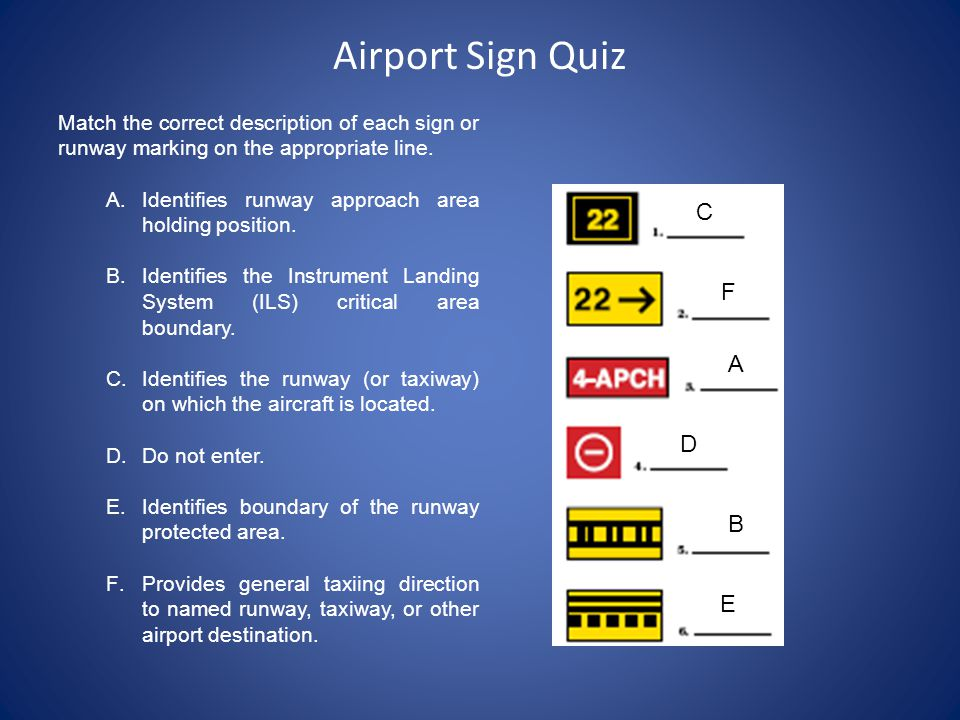 Airport Sign Quiz C F A D B E