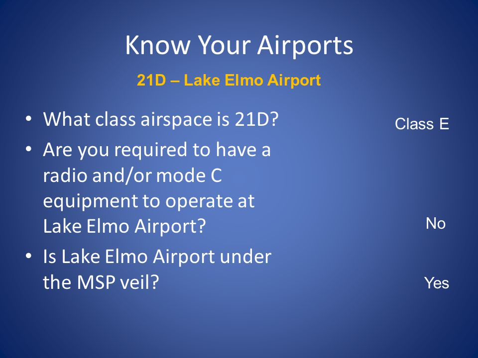 Know Your Airports What class airspace is 21D