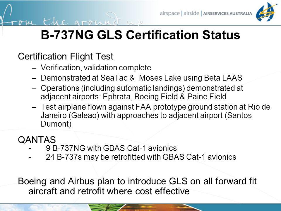 B-737NG GLS Certification Status