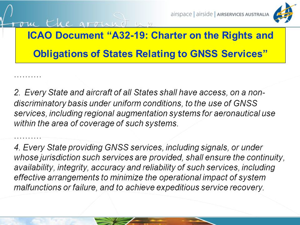 ICAO Document A32-19: Charter on the Rights and Obligations of States Relating to GNSS Services