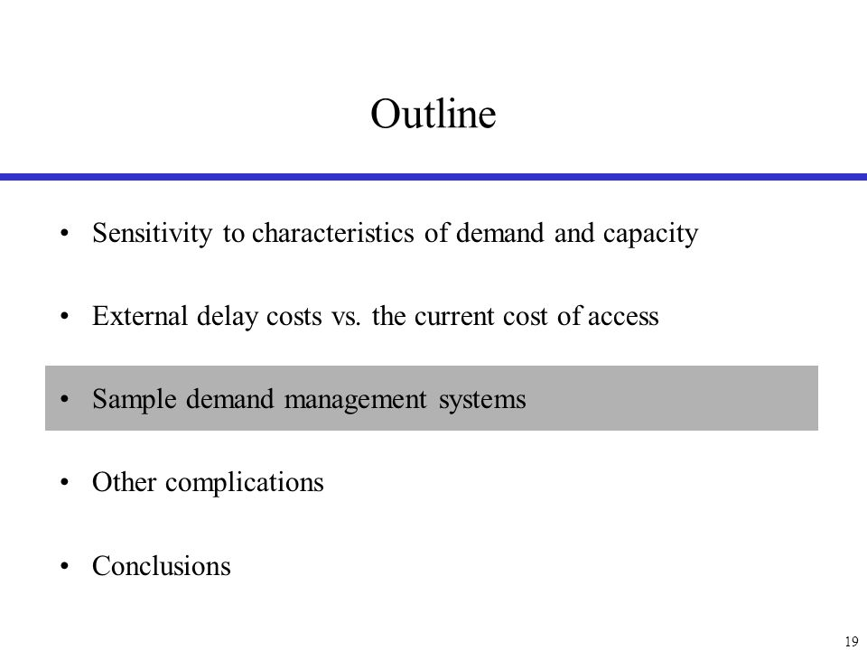 Proposed Demand Management Alternatives