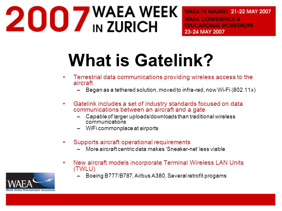 What is Gatelink Terrestrial data communications providing wireless access to the aircraft.