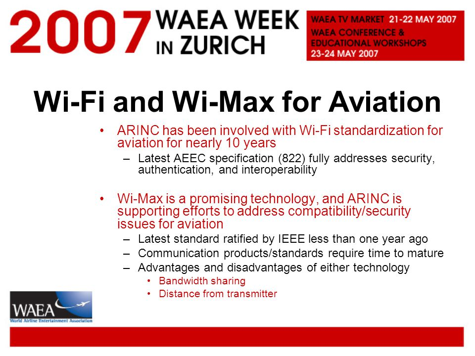 Wi-Fi and Wi-Max for Aviation