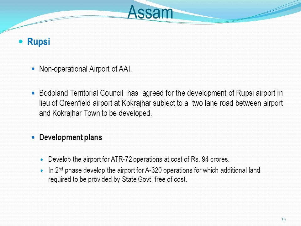 Assam Rupsi Non-operational Airport of AAI.