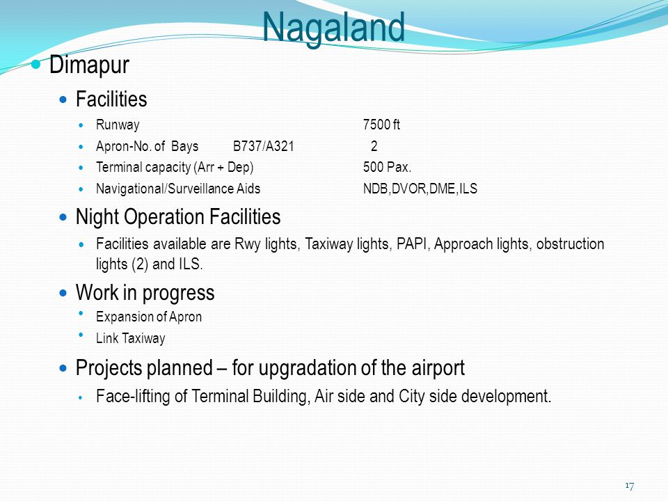Nagaland Dimapur Facilities Night Operation Facilities