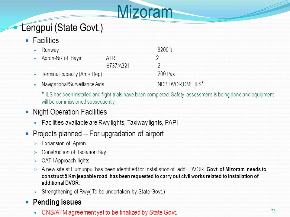 Mizoram Lengpui (State Govt.) Facilities Night Operation Facilities