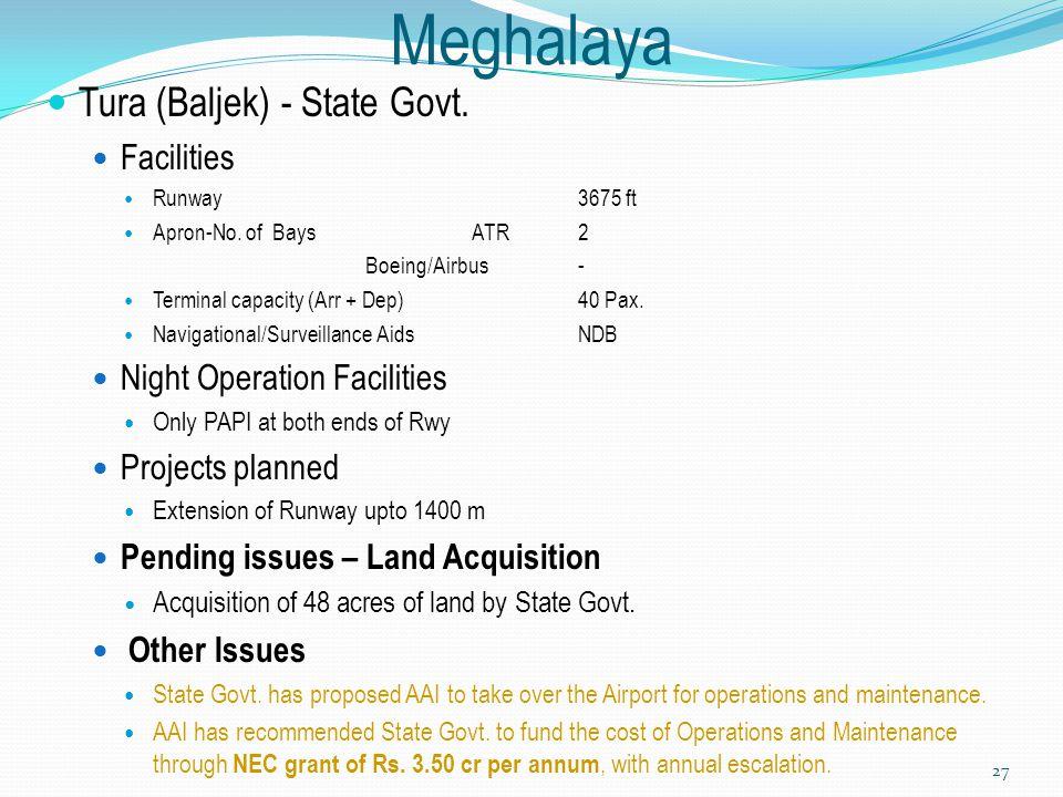 Meghalaya Tura (Baljek) - State Govt. Facilities