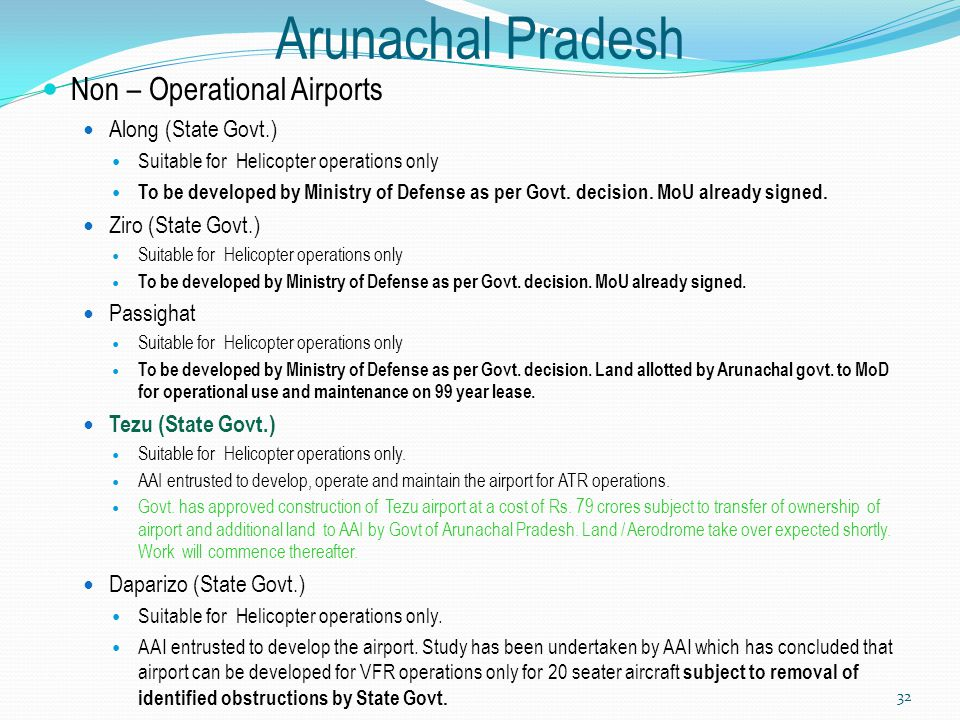 Arunachal Pradesh Non – Operational Airports Along (State Govt.)
