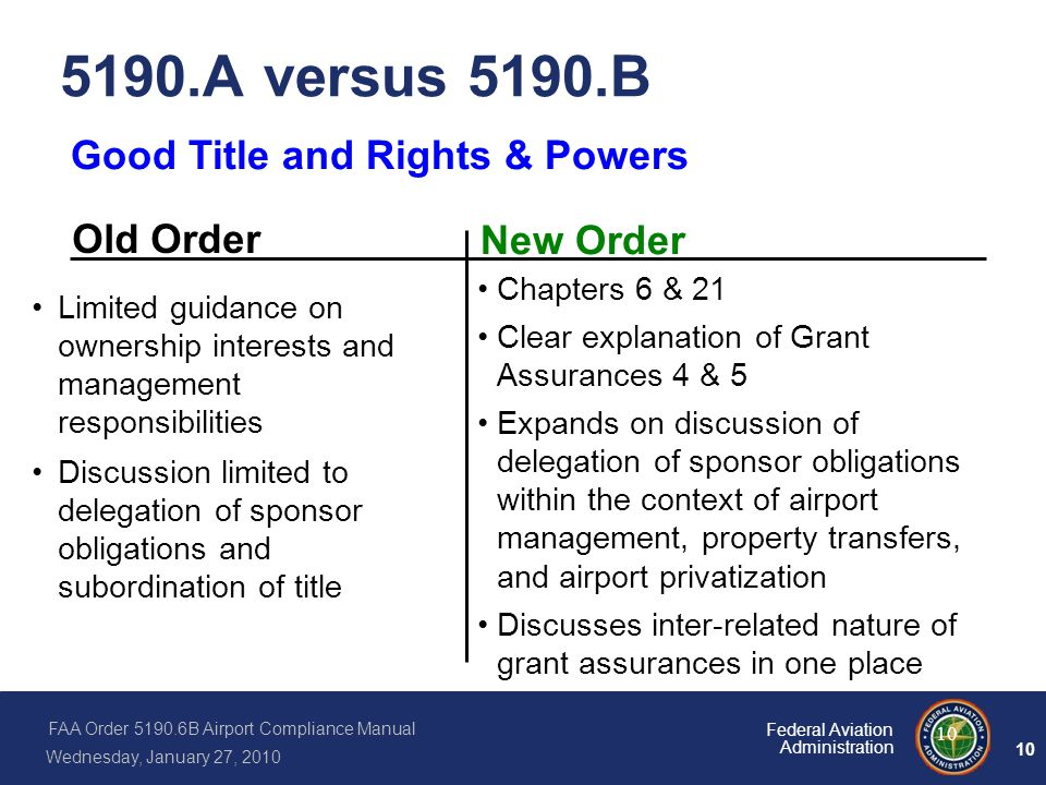 5190.A versus 5190.B Good Title and Rights & Powers Old Order