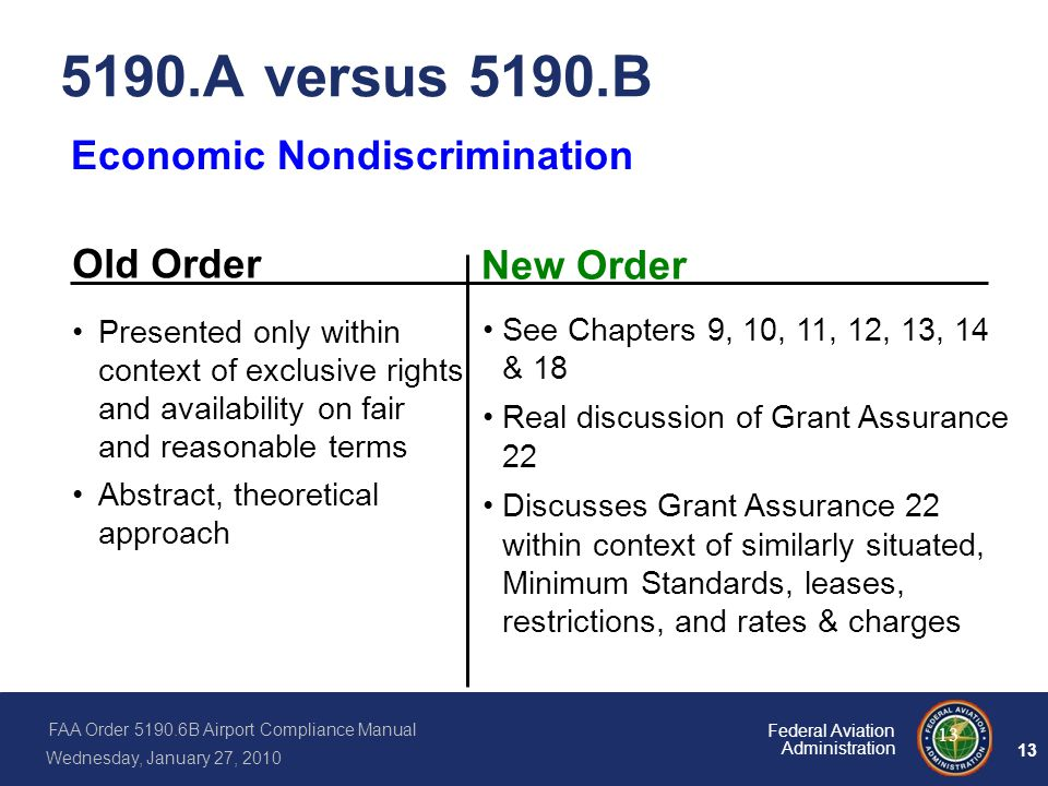 5190.A versus 5190.B Economic Nondiscrimination Old Order New Order