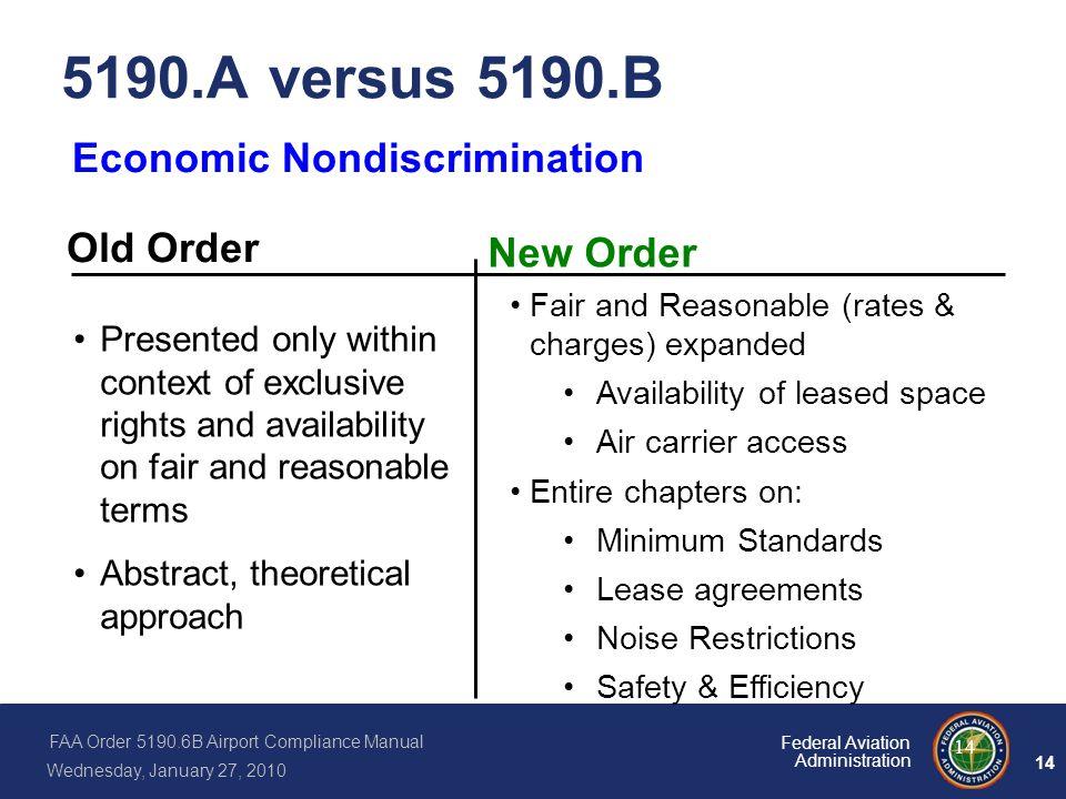 5190.A versus 5190.B Economic Nondiscrimination Old Order New Order