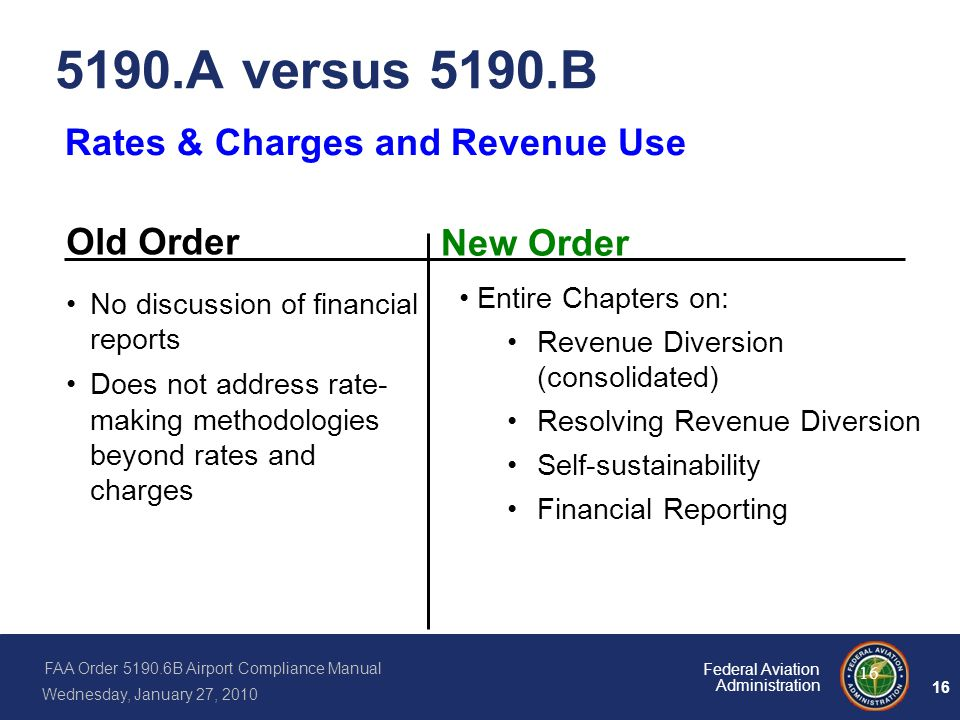 5190.A versus 5190.B Rates & Charges and Revenue Use Old Order