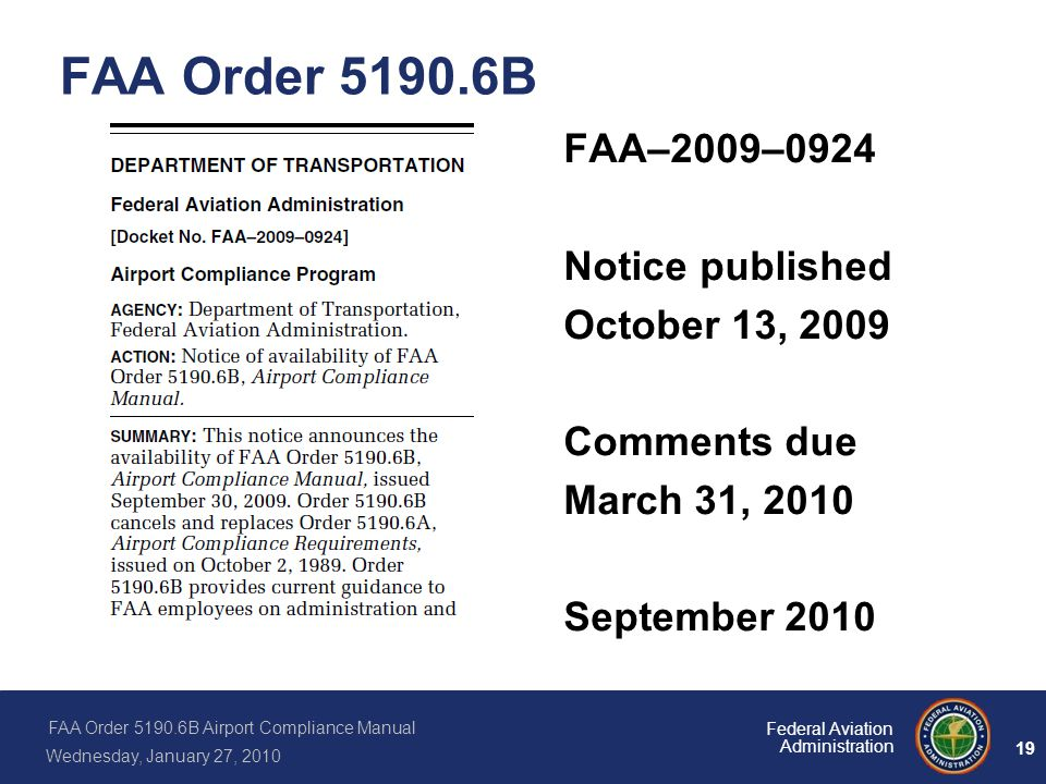 FAA Order B FAA–2009–0924 Notice published October 13, 2009