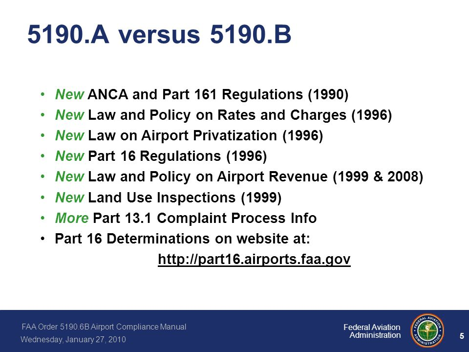 5190.A versus 5190.B New ANCA and Part 161 Regulations (1990)