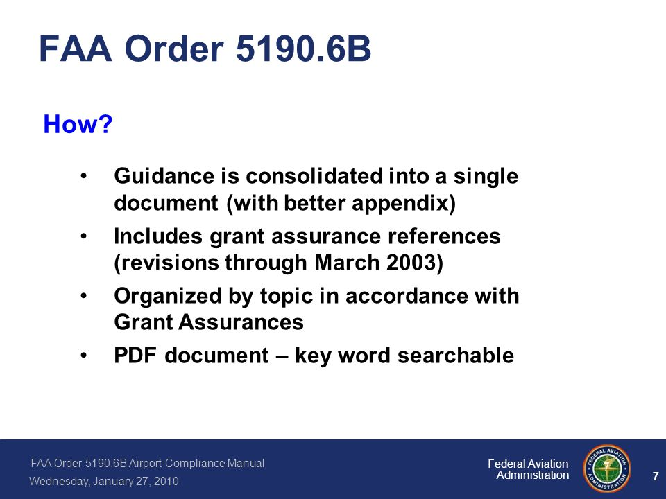 FAA Order B How Guidance is consolidated into a single document (with better appendix)