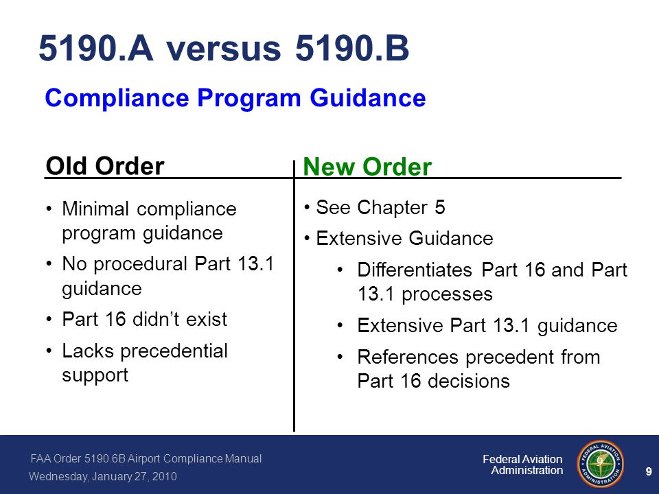 5190.A versus 5190.B Compliance Program Guidance Old Order New Order