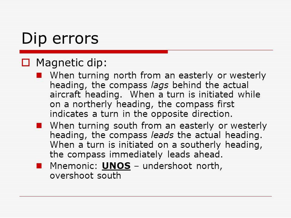 Dip errors Magnetic dip: