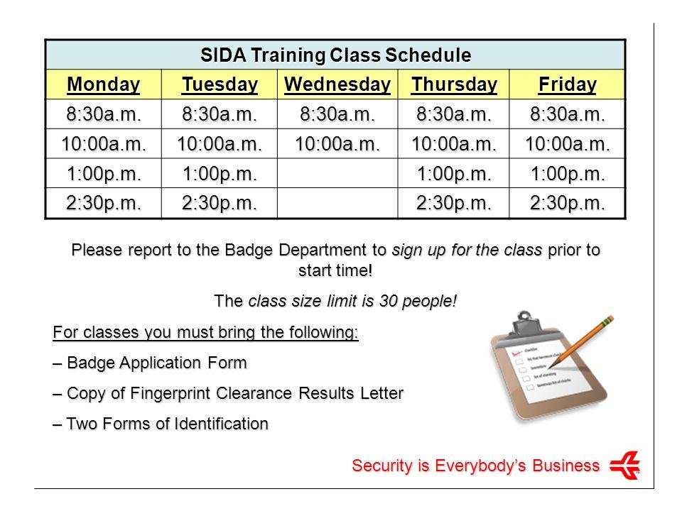 SIDA Training Class Schedule