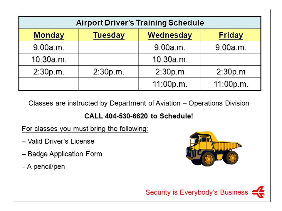 Airport Driver's Training Schedule