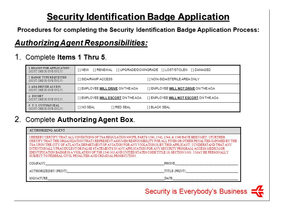 Security Identification Badge Application