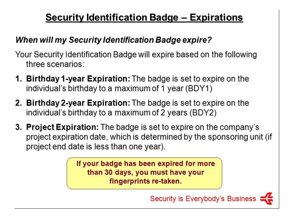 Security Identification Badge – Expirations