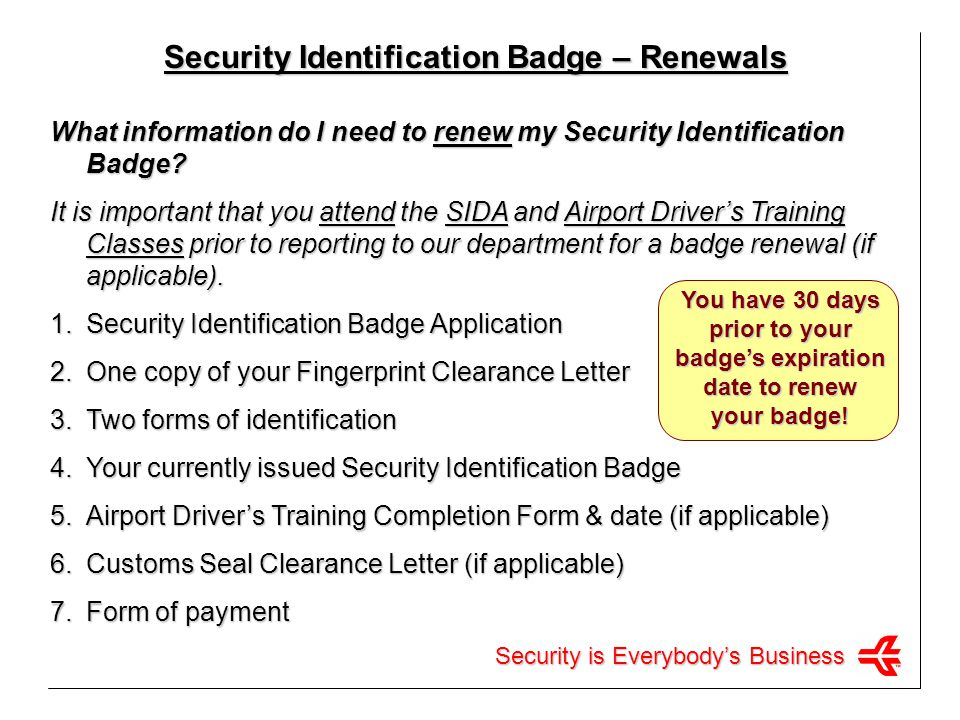 Security Identification Badge – Renewals