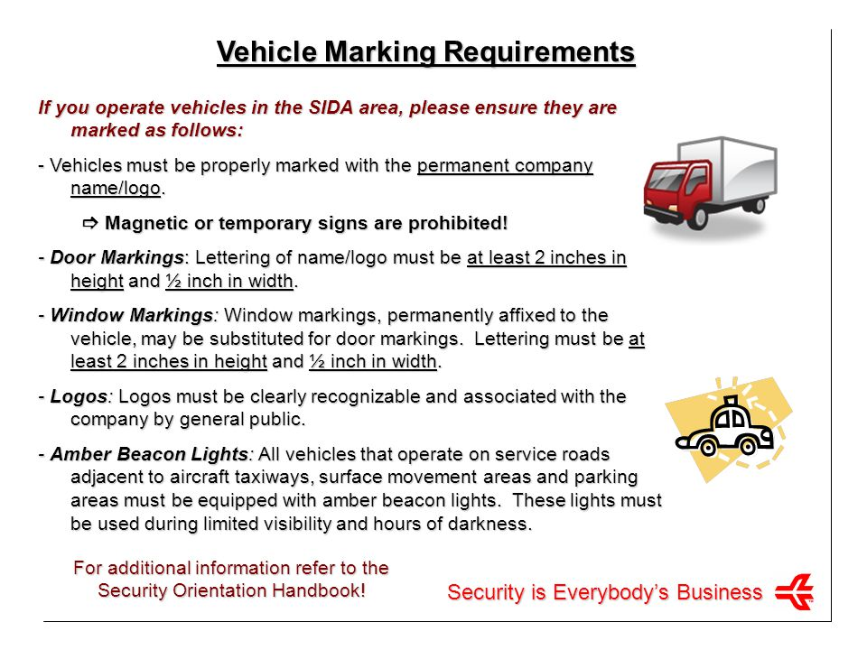 Vehicle Marking Requirements