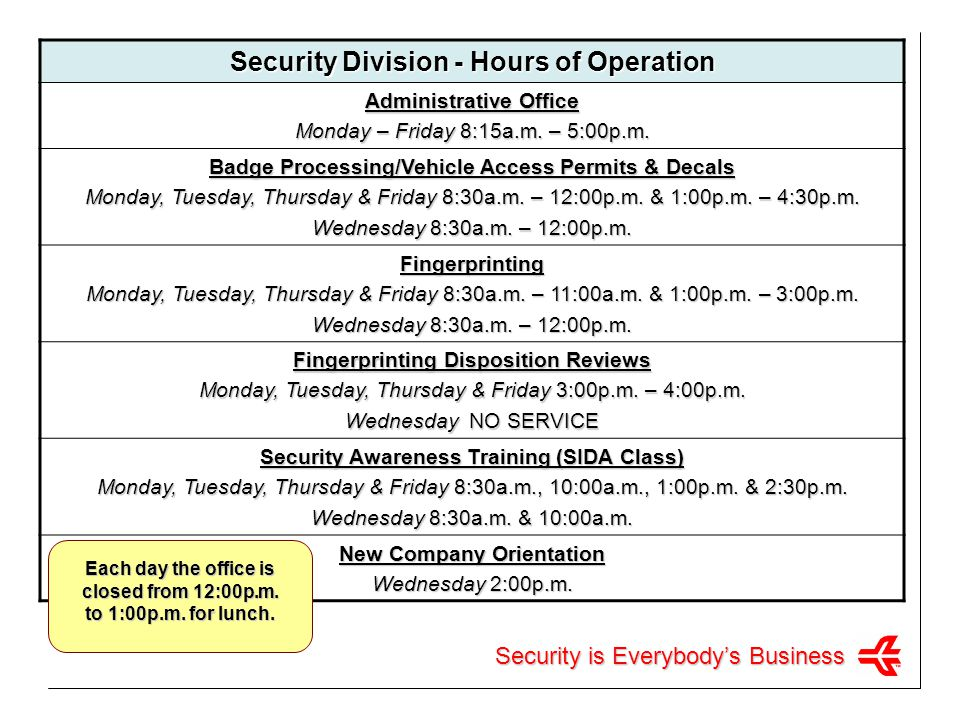 Security Division - Hours of Operation