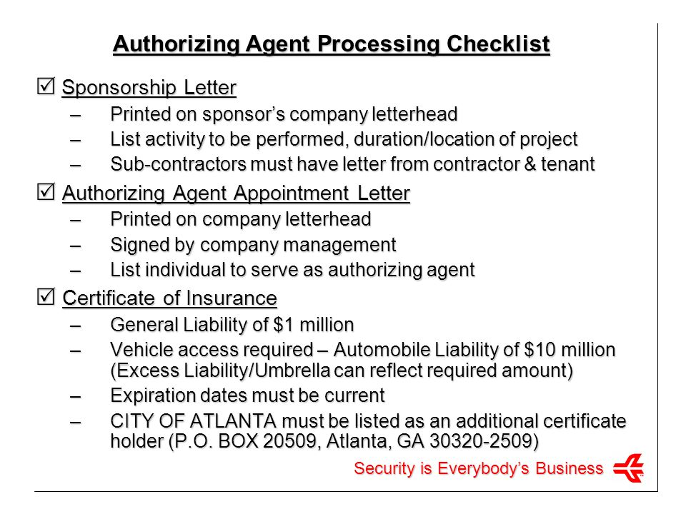 Authorizing Agent Processing Checklist