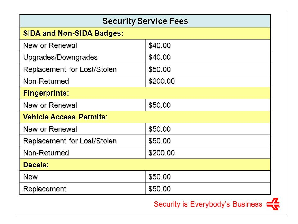 Security Service Fees SIDA and Non-SIDA Badges: New or Renewal $40.00