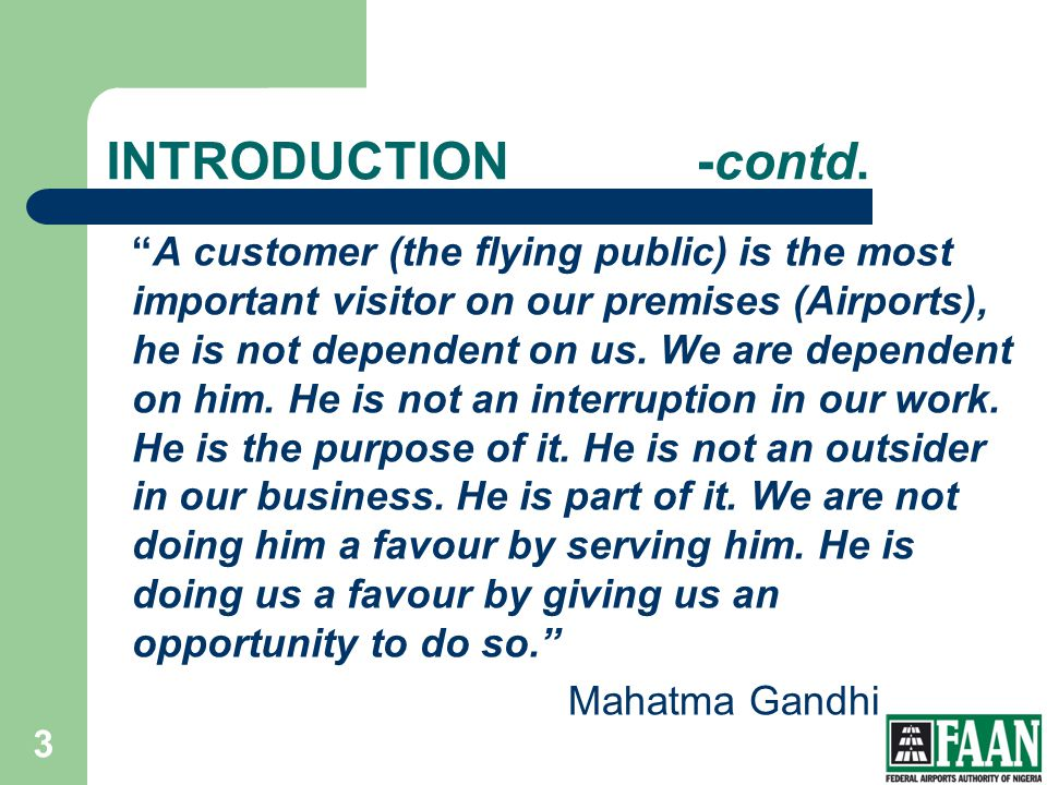 FAAN INTRODUCTION -contd.