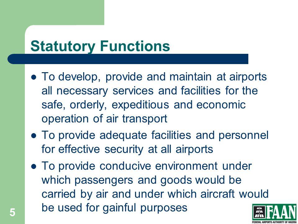 FAAN Statutory Functions.