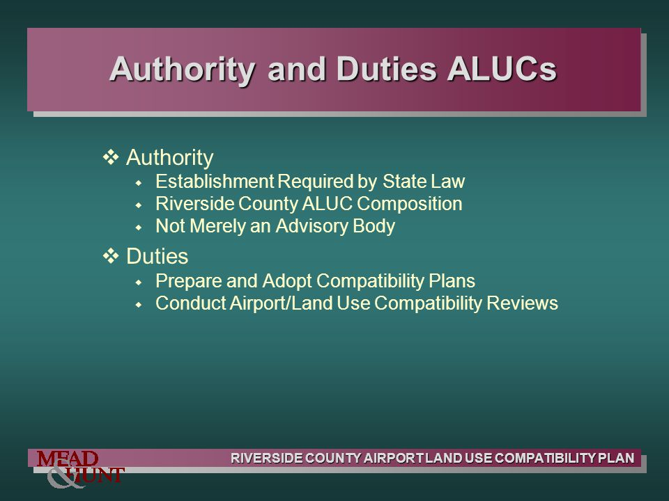 Authority and Duties ALUCs