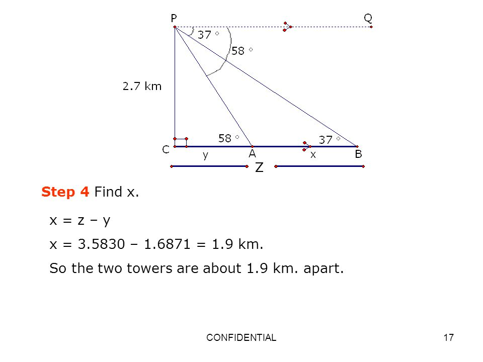 So the two towers are about 1.9 km. apart.
