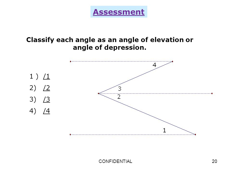 Classify each angle as an angle of elevation or angle of depression.