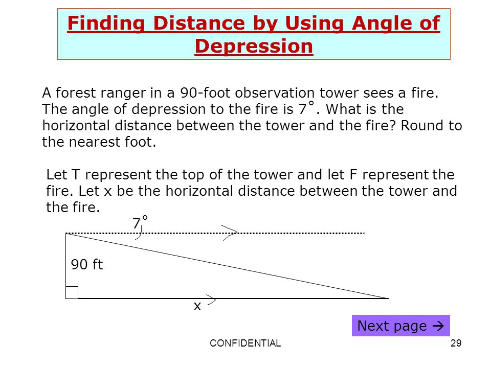 Finding Distance by Using Angle of Depression