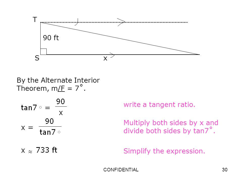 By the Alternate Interior Theorem, m/F = 7˚.